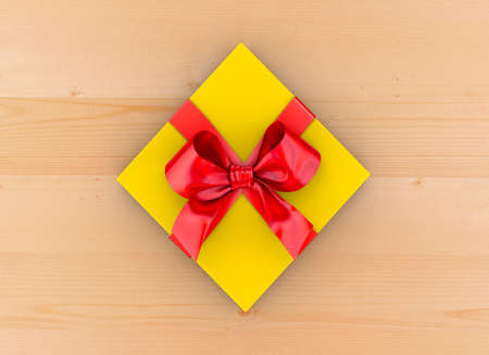 gift box Christmas, New Years Day ,red yellow gift ribbon box top view on table wood background 3d rendering Stock Photo