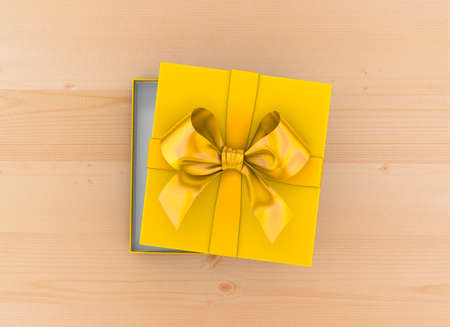 gift box Christmas, New Years Day ,Open yellow gift box top view on table wood background 3d rendering