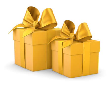 gift boxes for Christmas, New Years Day , 2 yellow gift boxes white background 3d rendering