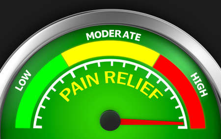 pain scale: pain relief meter indicate hundred per cent 3d rendering Stock Photo