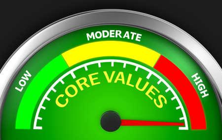 maximum: Core values level conceptual meter to maximum, 3d rendering Stock Photo