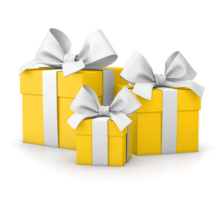 set of gift box isolated for Christmas, New Years Day , group three yellow white gift boxes ribbon white background 3d rendering