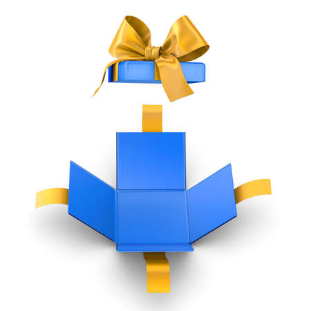 Christmas, New Years Day ,Open yellow blue gift ribbon box white background top view 3d rendering
