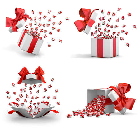 a lot of red gift box for Merry Christmas, New Years Day , Open Gift boxes emitting little gift many boxes with a red ribbon ,3d rendering