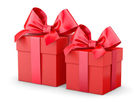 gift boxes for Christmas, New Years Day , 2 red gift boxes white background 3d rendering