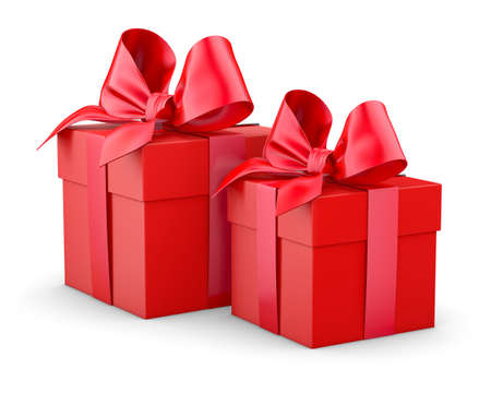 new years day: gift boxes for Christmas, New Years Day , 2 red gift boxes white background 3d rendering