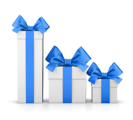 set of gift box isolated for Christmas, New Years Day , group three blue gift boxes white background 3d rendering Stock Photo