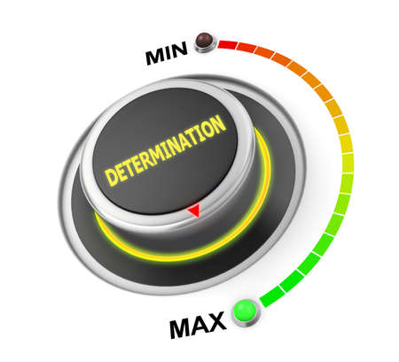 determination button position. Concept image for illustration of determination in the maximum position , 3d rendering