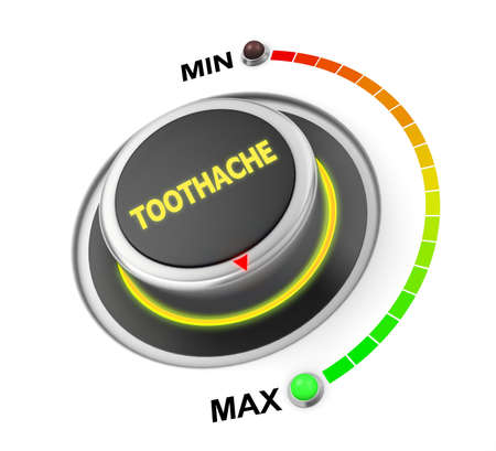 toothache: toothache button position. Concept image for illustration of toothachein the highest position , 3d rendering