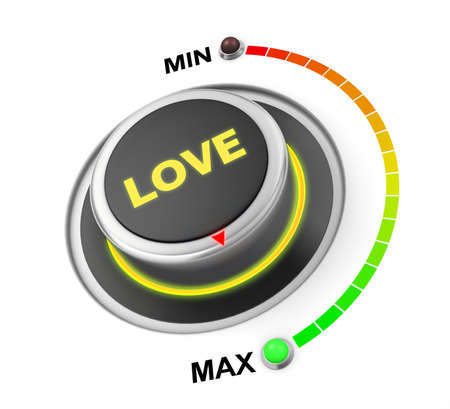 position d amour: love button position. Concept image for illustration of love in the maximum position , 3d rendering