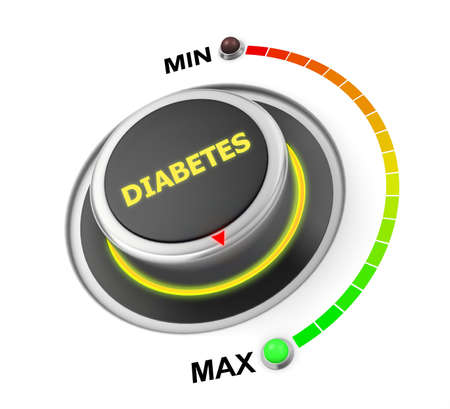diabetes button position. Concept image for illustration of diabetes in the maximum position , 3d rendering Stok Fotoğraf
