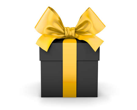 gift box for Christmas, New Year's Day , yellow black gift ribbon box white background 3d rendering Reklamní fotografie - 68326603