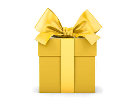 gift box for Christmas, New Years Day , yellow gold gift box white background 3d rendering Stock Photo
