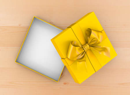 table wood: gift box Christmas, New Years Day ,Open yellow gift box top view on table wood background 3d rendering
