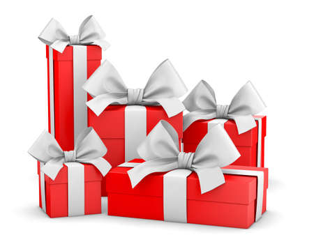 set of gift box isolated for Christmas, New Years Day , group red gift boxes white background 3d rendering