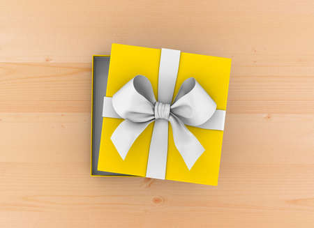 table wood: gift box Christmas, New Years Day ,Open yellow gift ribbon box top view on table wood background 3d rendering