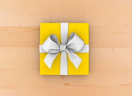 table wood: gift box Christmas, New Years Day , yellow gift ribbon box top view on table wood background 3d rendering Stock Photo