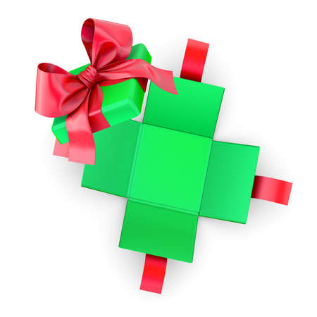 gfit for Christmas, New Years Day ,Open red green gift ribbon box white background top view 3d rendering Stock Photo