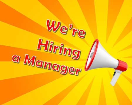3d manager:  megaphone we are hiring a manager 3d rendering Stock Photo