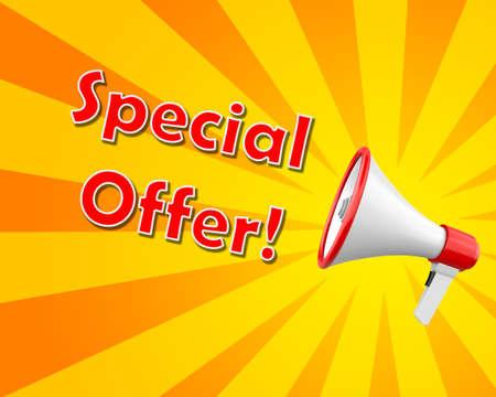 relaciones publicas: megaphone - Special offer 3d rendering
