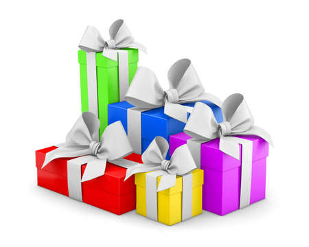 Set of gift box isolated for Christmas, New Years Day , group pile colorful gift boxes white background 3d rendering