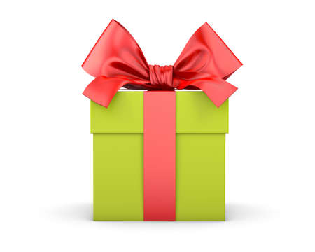 gift box green red ribbon for Christmas, New Years Day white background 3d rendering