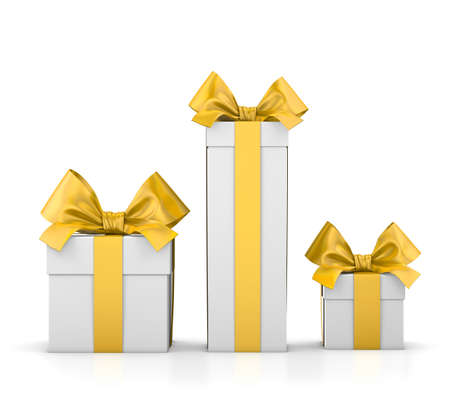 new years day: set of gift box isolated for Christmas, New Years Day , group three yellow gift boxes white background 3d rendering