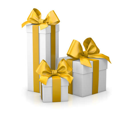 set of gift box isolated for Christmas, New Years Day , group three yellow gift boxes white background 3d rendering