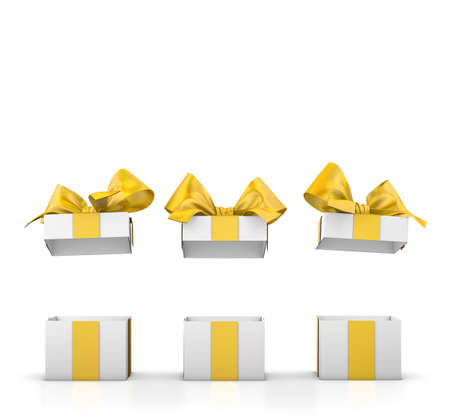new years day: set of gift box isolated for Christmas, New Years Day , group three open yellow gift boxes white background 3d rendering