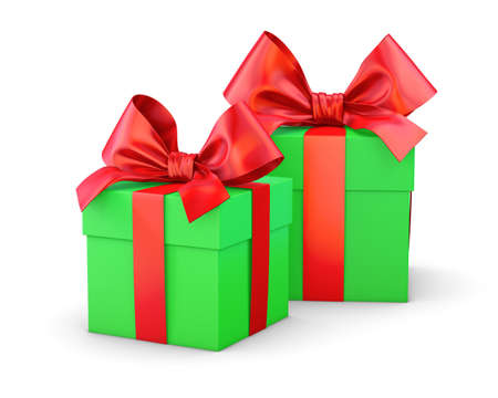 gift boxes for Christmas, New Years Day , 2 red and green gift boxes white background 3d rendering