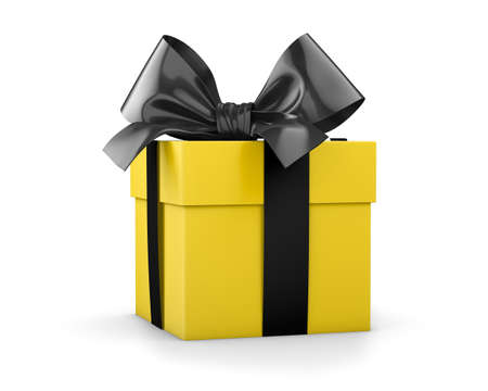 gift box for Christmas, New Years Day , yellow black gift ribbon box white background 3d rendering