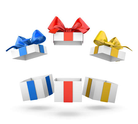 set of gift box isolated for Christmas, New Years Day , group three open red blue yellow gift boxes white background 3d rendering