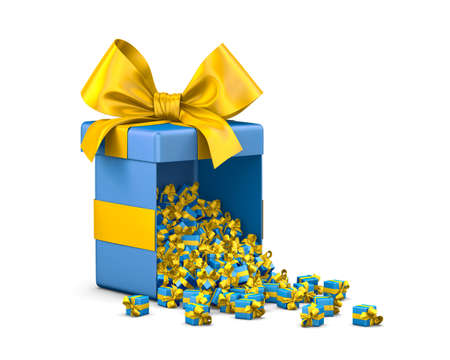 Merry Christmas, New Years Day , Open yellow blue Gift box emitting little gifts many boxes  ,3d rendering Stock Photo