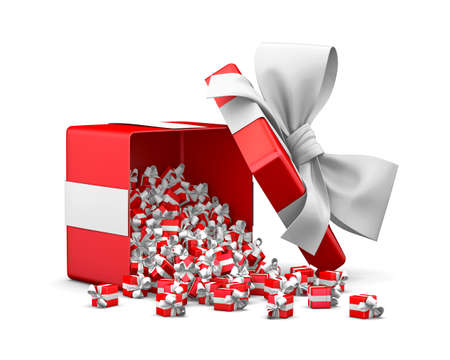 Merry Christmas, New Years Day , Open red Gift box emitting little gifts many boxes  ,3d rendering