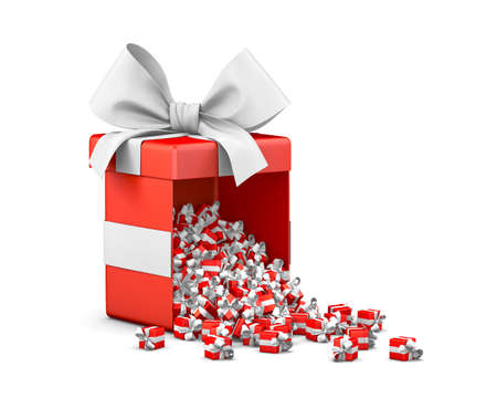 emitting: Merry Christmas, New Years Day , Open red Gift box emitting little gifts many boxes  ,3d rendering