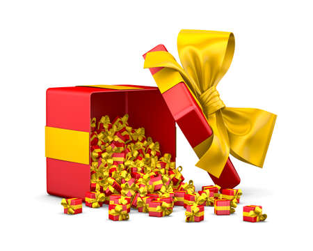red yellow gift box for Merry Christmas, New Years Day  ,3d rendering Stock Photo