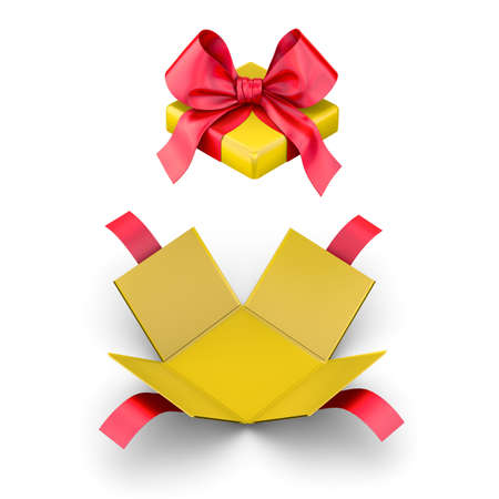 new years day: Christmas, New Years Day ,Open red yellow gift box white background top view 3d rendering