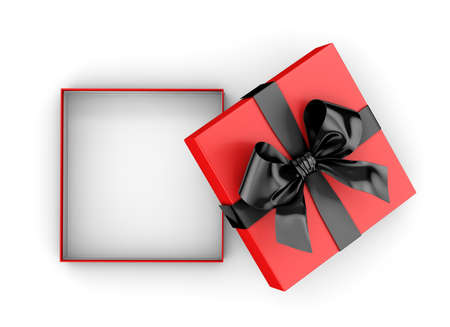 Open gift box for Christmas, New Years Day , black red gift box top view on white background 3d rendering