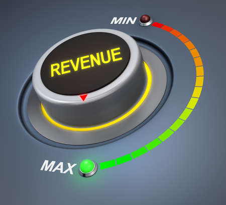 revenue: revenue button position. Concept image for illustration of revenue in the highest position , 3d rendering Stock Photo