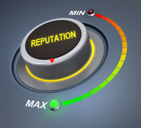 reputation button position. Concept image for illustration of reputation in the highest position , 3d rendering Stock Photo