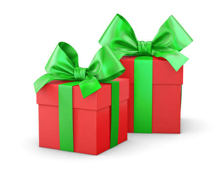 new years day: gift box for Christmas, New Years Day , 2 red and green gift boxes white background 3d rendering