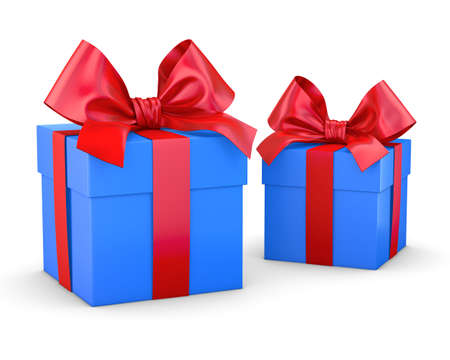 gift boxes red blue for Christmas and New Years Day white background isolate 3d rendering Stock Photo