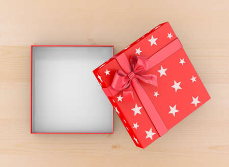 Christmas, New Years Day ,Open red gift box top view on wood table background 3d rendering Stock Photo