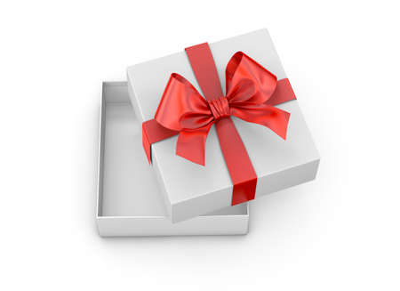 new years day: Christmas, New Years Day ,Open red gift box top view white background 3d rendering Stock Photo