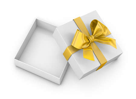 Christmas and New Years Day ,Open yellow  gift box top view white background 3d rendering