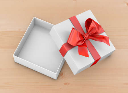 Christmas, New Years Day ,Open red gift box top view on table background 3d rendering