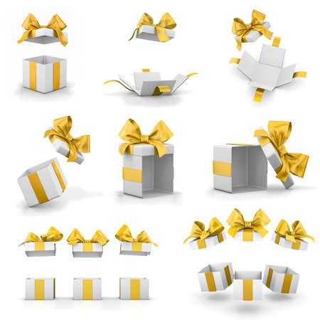 new years day: open yellow gift boxes for Merry Christmas, New Years Day , gift box set 3d rendering
