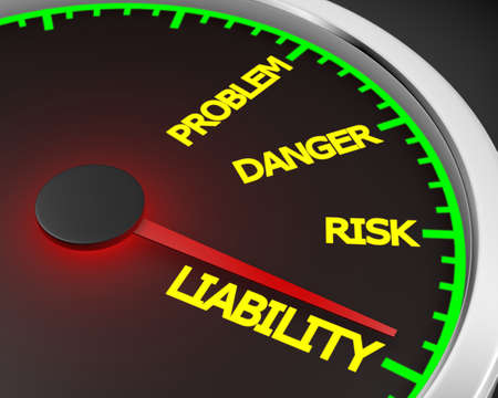 risky behavior: Problem, Danger, Risk  and Liability words on a speedometer 3d rendering