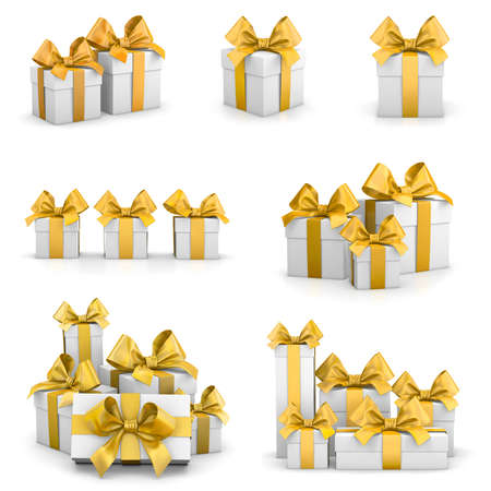 new years day: gift boxes yellow for Christmas, New Years Day ,gift box set 3d rendering Stock Photo