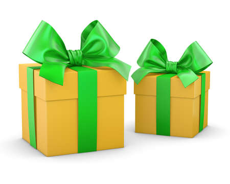 gift boxes yellow green for Christmas and New Years Day white background isolate 3d rendering Stock Photo